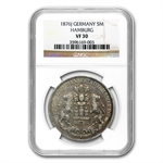 Hamburg Germany 1876-J 5 Mark Silver - NGC VF-30