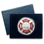 1 oz Fire Department Enameled Silver Round (w/Box & Capsule)
