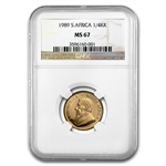 1989 1/4 oz Gold South African Krugerrand NGC MS-67