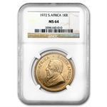 1972 1 oz Gold South African Krugerrand NGC MS-64
