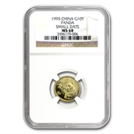 1995 (1/10 oz) Gold Chinese Pandas - MS-68 NGC Small Date
