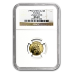 1996 (1/10 oz) Gold Chinese Pandas - MS-69 NGC Large Date