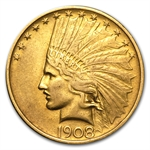1908 $10 Indian Gold Eagle - No Motto - Cleaned