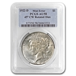 1922-D Peace Dollar AU-58 PCGS 45 Degree CW Rotated Rev Error