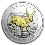 2013 1 oz Silver Canadian Wildlife Series - Antelope - Gilded