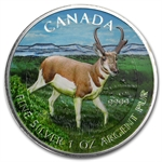 2013 1 oz Silver Canadian Wildlife Series - Antelope - Full Color