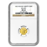 1853 BG-429 Liberty Round 50 Cent Gold MS-64 NGC
