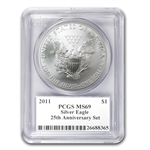 2011 Silver Eagle 25th Anniv Set MS/PR-69 PCGS John Mercanti