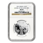 2012 Israel Daniel in the Lion's Den Silver 1 NIS MS-69 PL NGC