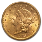 1875-S $20 Gold Liberty Double Eagle - MS-61 PCGS