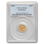 1903 $1.00 Gold Louisiana Purchase - McKinley MS-62 PCGS