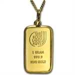 1 Gram Dove of Peace Gold Bar Necklace w/ Diamond - AGW 0.05 oz