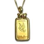 1 Gram Dove of Peace Gold Bar Necklace - AGW 0.05 oz