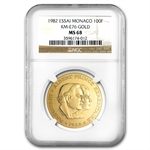 Monaco 1982 Gold 100 Francs Princes MS-68 NGC