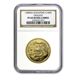 Singapore 1988 100 Singold 1 oz Proof Gold Dragon PF-69 UCAM NGC