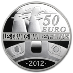 2012 50 Euro 5 oz Silver Proof Great French Ships - The France