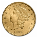 1899-S $20 Gold Liberty Double Eagle - MS-63 PCGS