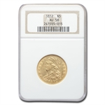 1812 $5 Gold Capped Bust Half Eagle - AU-58 NGC