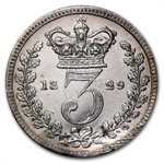 Great Britain 1829 Silver 3 Pence George IIII Unc Details