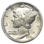 1916-D NGC Almost Uncirculated (Details - Whizzed) - Mercury Dime