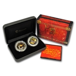 2013 1 oz Silver Australian Lunar Good Fortune 2-Coin Set