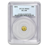 1854 BG-308 Liberty Octagonal 50 Cent Gold MS-64 PCGS