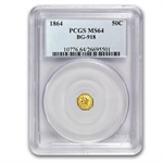 1864 BG-918 Liberty Octagonal 50 Cent Gold MS-64 PCGS