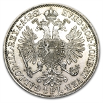 Austria 1861-A Florin Silver Almost Uncirculated