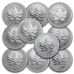 10 Different 1 oz Silver Canadian Maple Leaf Privy Mark Coins