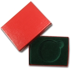 2 in. x 3 in. Red w/ Green Felt Lined Gift Box for Silver Round