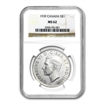 Canada 1939 1 Dollar Silver King George VI NGC MS-62