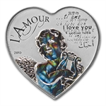 Cameroon 2013 Silver 1,000 CFA Francs Heart of Love Hologram Coin