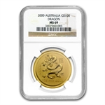 2000 1 oz Gold Year of the Dragon Lunar Coin (Series I) MS-69 NGC