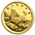 China 1996 Proof 5 Yuan Unicorn Gold 1/20 Coin (Abrasions)
