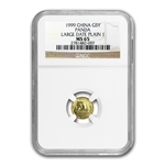 1999 (1/20 oz) Gold Chinese Pandas -Large Date Plain 1 NGC MS-65