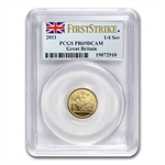 Great Britain 2011 Gold 1/4 Sovereign PCGS PR-69DC 1st Strike