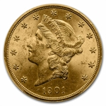 1901 $20 Gold Liberty Double Eagle - MS-63 PCGS