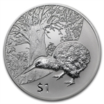 2013 1 oz Silver New Zealand Treasures $1 Kiwi Coin - Capsule