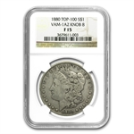 1880 Morgan Dollar - Fine-15 NGC VAM-1A2 Knobbed 8 Top-100