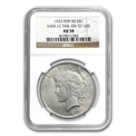 1923 Peace Dollar AU-58 NGC VAM-1C Tail On O LDS Top-50