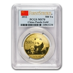2012 1 oz Gold Chinese Panda MS-70 PCGS First Strike
