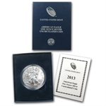2013-W (Burnished) Silver American Eagle (w/Box & CoA)