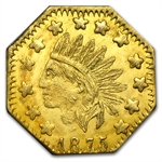 1875 Indian Octagonal Gold Token MS-63 PL Proof Like