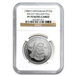 1988 1 oz Swiss Platinum William Tell (PF-70 UCAM NGC)