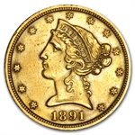 1891-CC $5 Liberty Gold Half Eagle - AU Details - (Cleaned)