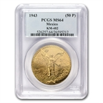 Mexico 1943 50 Pesos Gold PCGS MS-64