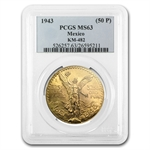 Mexico 1943 50 Pesos Gold Coin - MS-63 PCGS