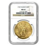 Mexico 1930 50 Pesos Gold Coin - MS-63 NGC
