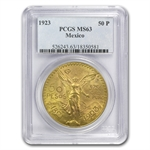 Mexico 1923 50 Pesos Gold Coin MS-63 PCGS