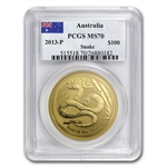 2013 1 oz Gold Lunar Year of the Snake (SII) PCGS MS-70